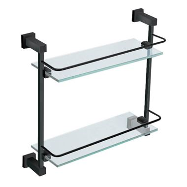 Vellamo Twist Matt Black Double Glass Shelf